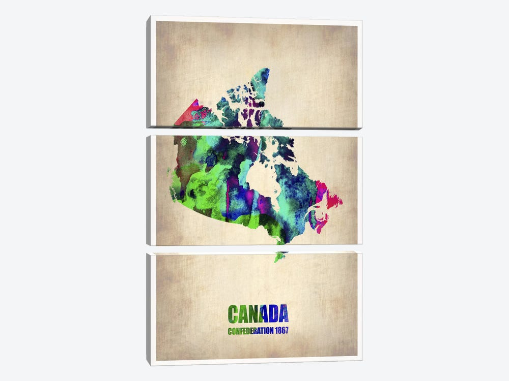 Canada Watercolor Map by Naxart 3-piece Canvas Art