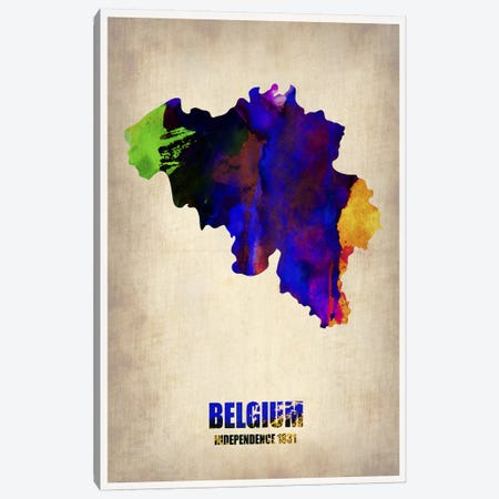 Belgium Watercolor Map Canvas Print #NAX334} by Naxart Canvas Art