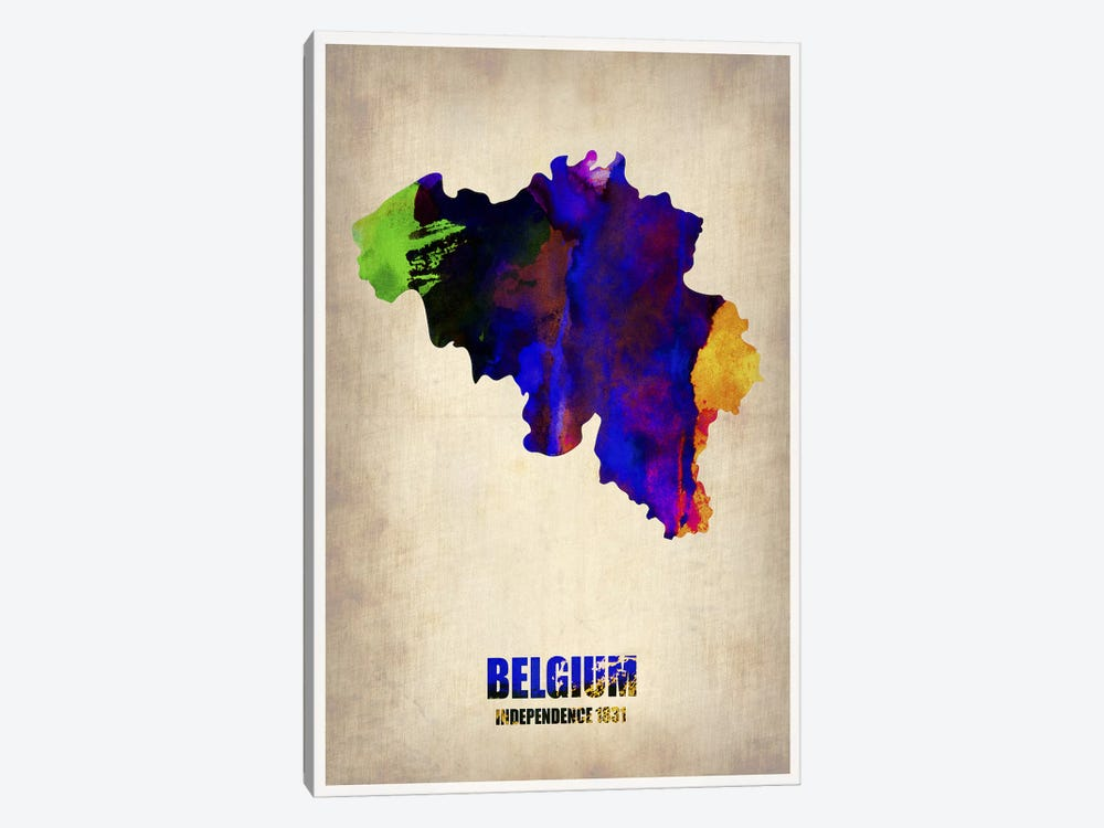 Belgium Watercolor Map by Naxart 1-piece Canvas Print