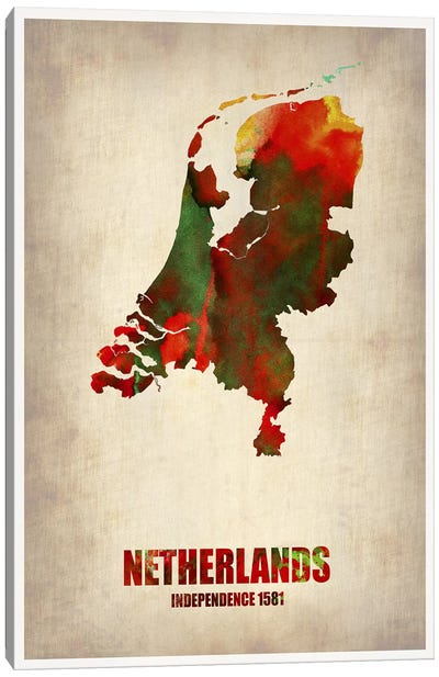 Netherlands Watercolor Map Canvas Print #NAX335