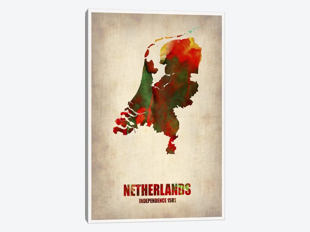 Netherlands Watercolor Map by Naxart 1-piece Canvas Wall Art