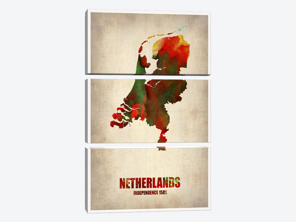 Netherlands Watercolor Map 3-piece Canvas Art