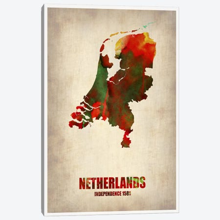 Netherlands Watercolor Map 3-Piece Canvas #NAX335} by Naxart Canvas Art