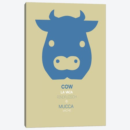 Multilingual Cow Canvas Print #NAX376} by Naxart Canvas Art