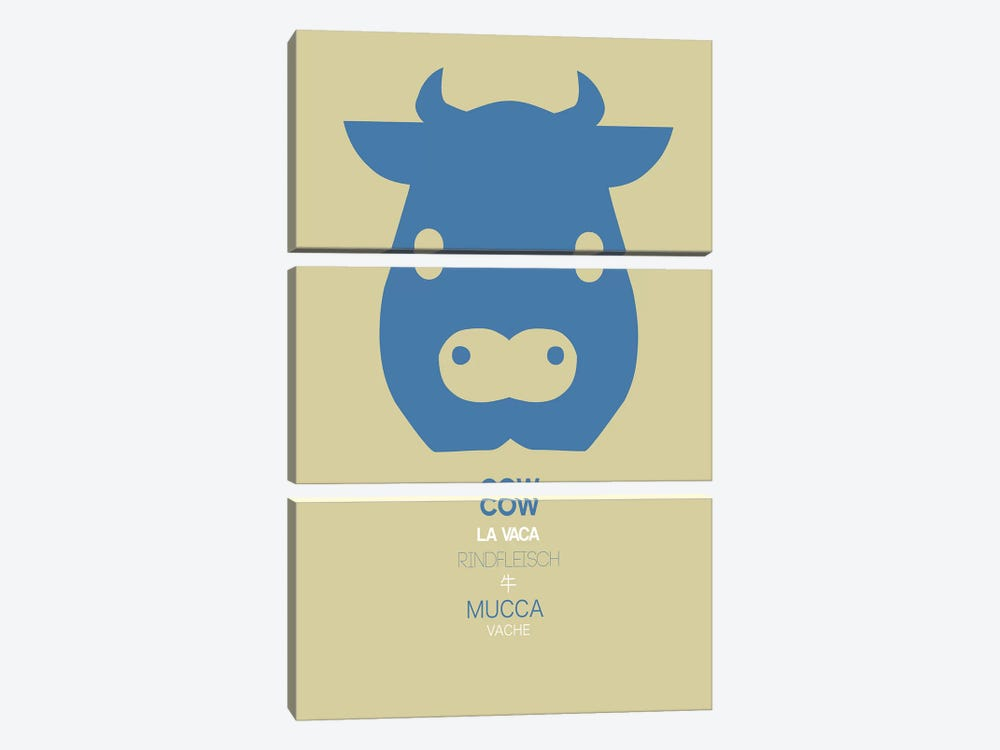 Multilingual Cow by Naxart 3-piece Art Print