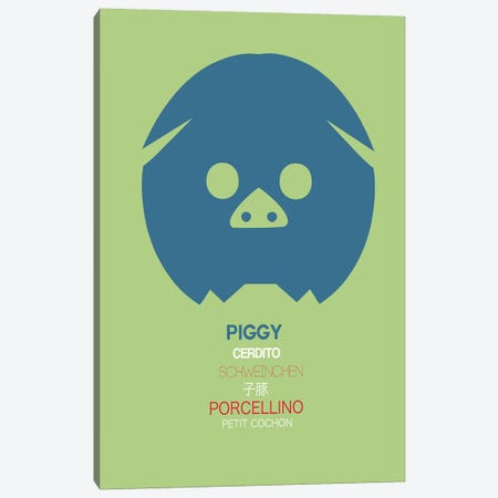 Multilingual Piggy Canvas Print #NAX377} by Naxart Canvas Art