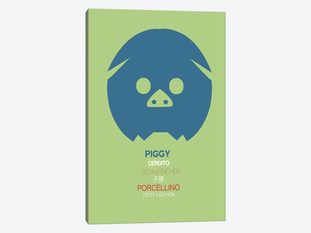 Multilingual Piggy 1-piece Canvas Wall Art
