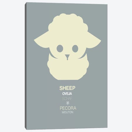 Multilingual Sheep Canvas Print #NAX379} by Naxart Canvas Print