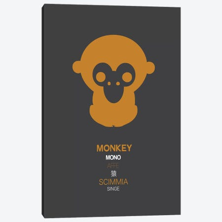 Multilingual Monkey Canvas Print #NAX382} by Naxart Canvas Artwork