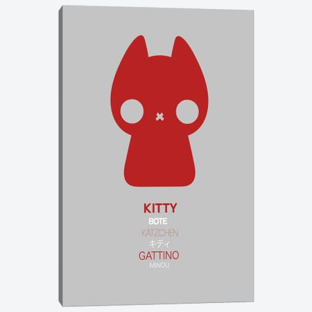 Multilingual Kitty Canvas Print #NAX387} by Naxart Art Print