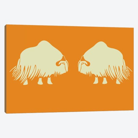 Two White Oxen Canvas Print #NAX411} by Naxart Canvas Wall Art