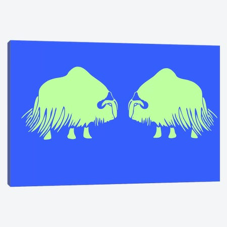 Two Green Oxen Canvas Print #NAX412} by Naxart Canvas Wall Art
