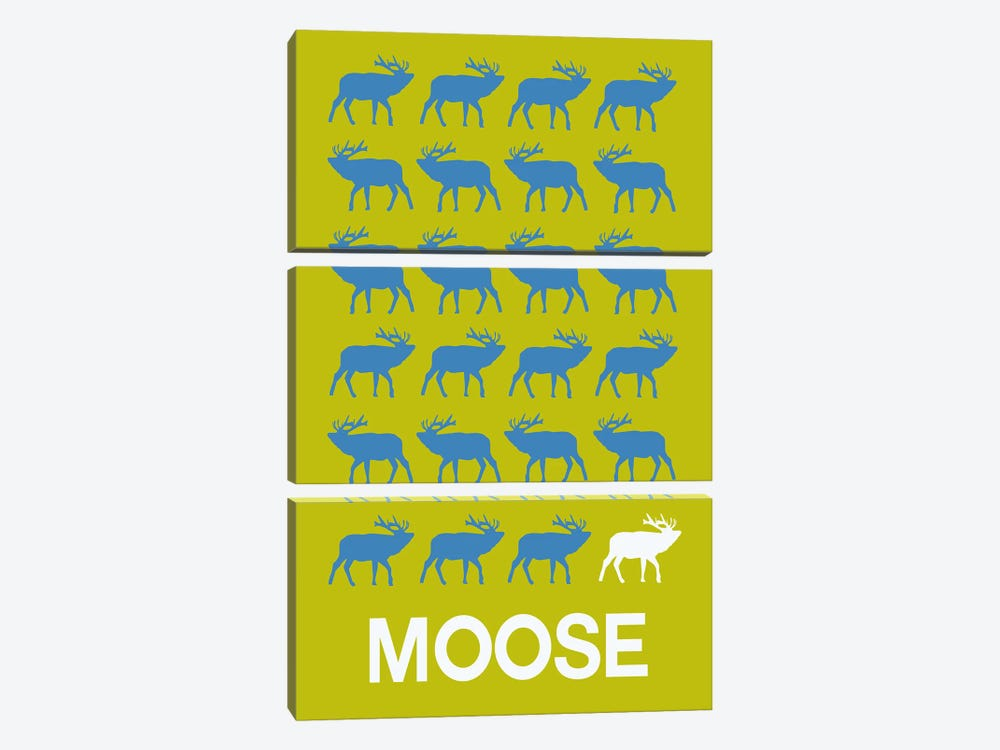 Moose Of Moose by Naxart 3-piece Canvas Wall Art