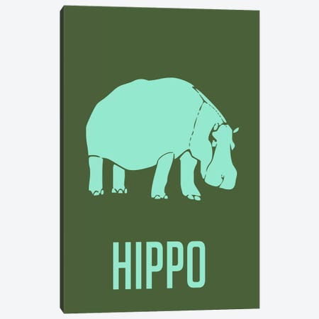 Hippo II Canvas Print #NAX431} by Naxart Canvas Wall Art