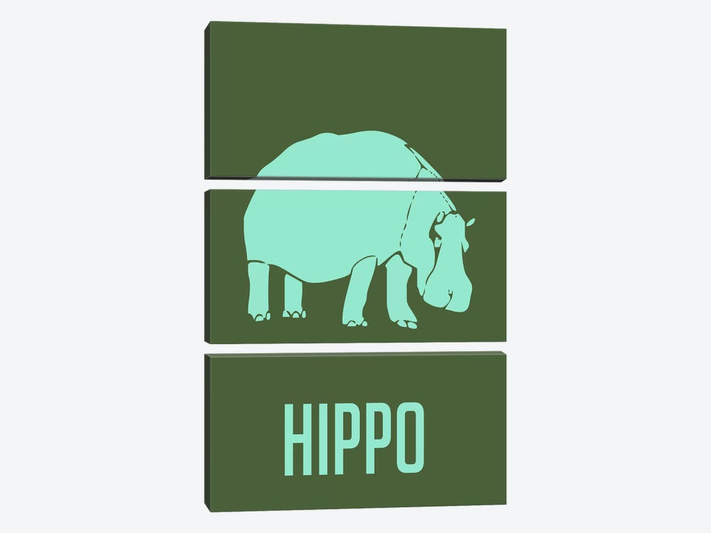 Hippo II by Naxart 3-piece Canvas Art Print
