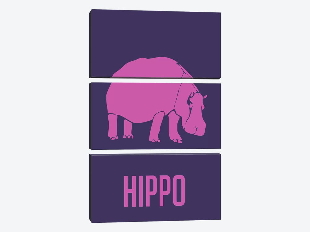 Hippo III by Naxart 3-piece Canvas Wall Art