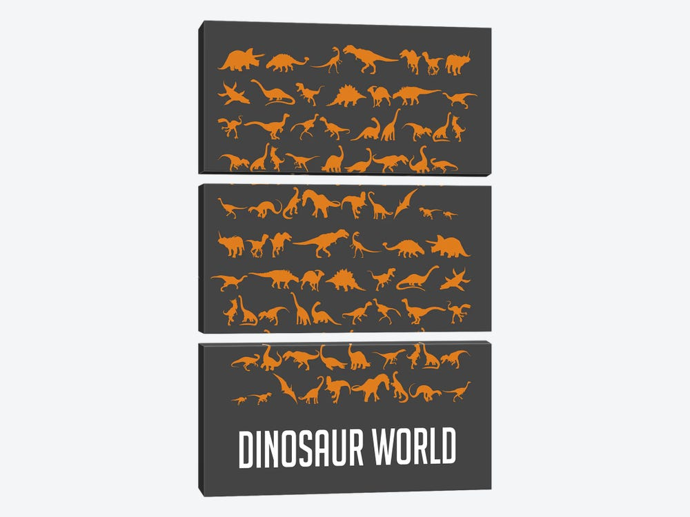 Dinosaur World II by Naxart 3-piece Canvas Artwork