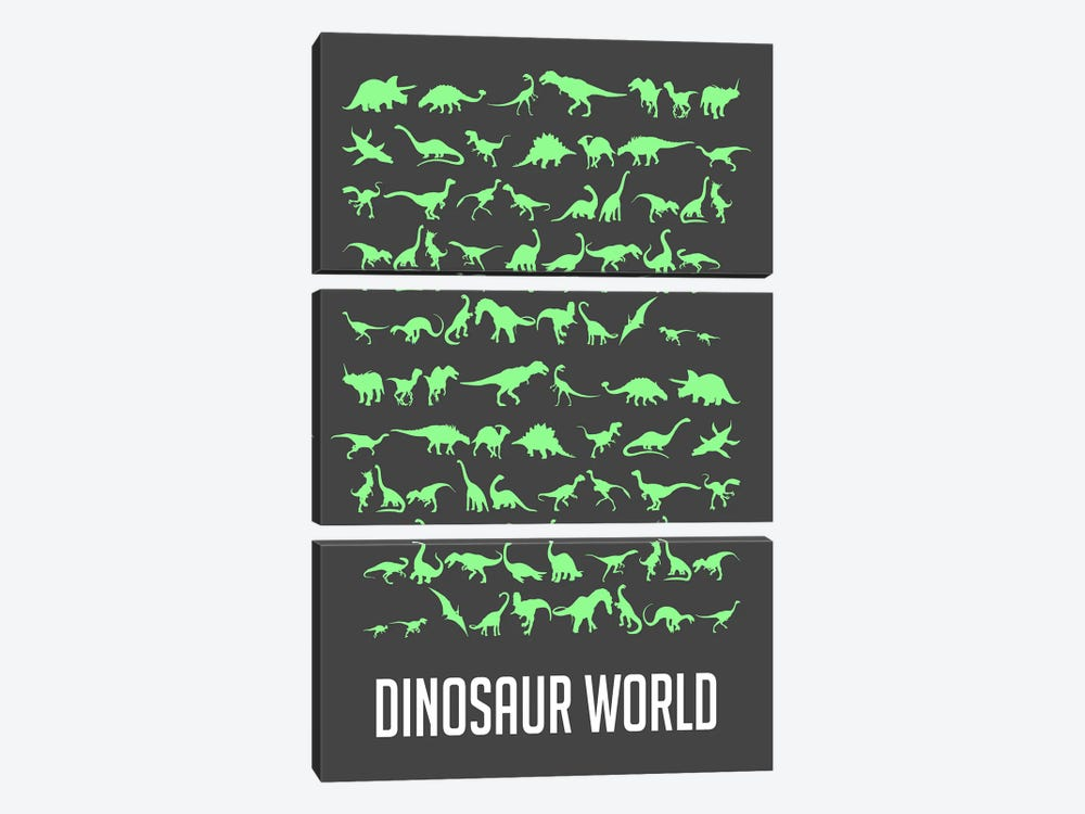 Dinosaur World III by Naxart 3-piece Canvas Print