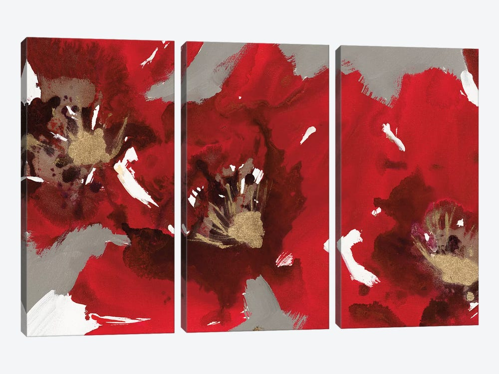 Red Poppy Forest I by Natasha Barnes 3-piece Canvas Print
