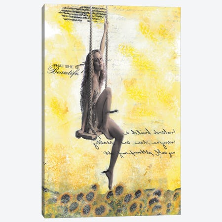 Swinging In A Field Of Sunflowers Canvas Print #NBD23} by Nora Bland Canvas Art Print