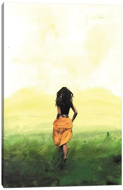 Girl In The Field Canvas Art Print