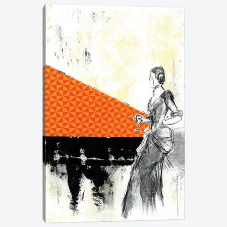 Girl With A Glass Of Wine Canvas Print #NBD9} by Nora Bland Canvas Art