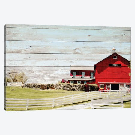 Farm Fence 3-Piece Canvas #NBI13} by Nicholas Biscardi Art Print