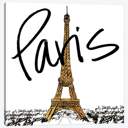 Gold Eiffel In Paris Canvas Print #NBI18} by Nicholas Biscardi Art Print