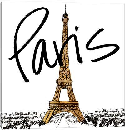 Gold Eiffel In Paris Canvas Art Print