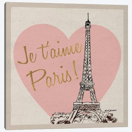 Je T'Aime Paris! Canvas Print #NBI20} by Nicholas Biscardi Canvas Wall Art
