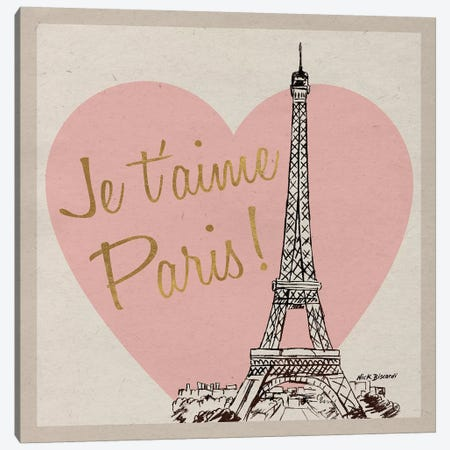 Je T'Aime Paris! Canvas Print #NBI20} by Nicholas Biscardi Canvas Wall Art