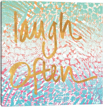 Laugh Often Neon Canvas Art Print