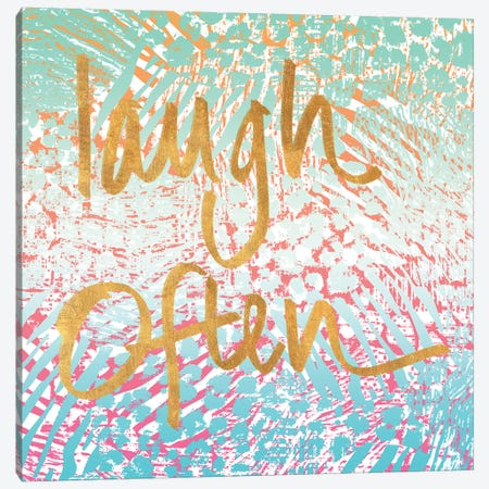 Laugh Often Neon Canvas Print #NBI21} by Nicholas Biscardi Canvas Art