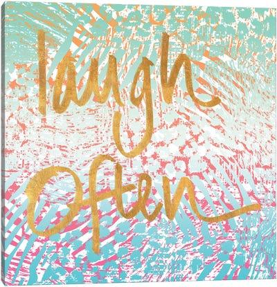 Laugh Often Neon Canvas Art Print