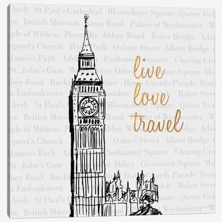 Live Love Travel Canvas Print #NBI23} by Nicholas Biscardi Canvas Art