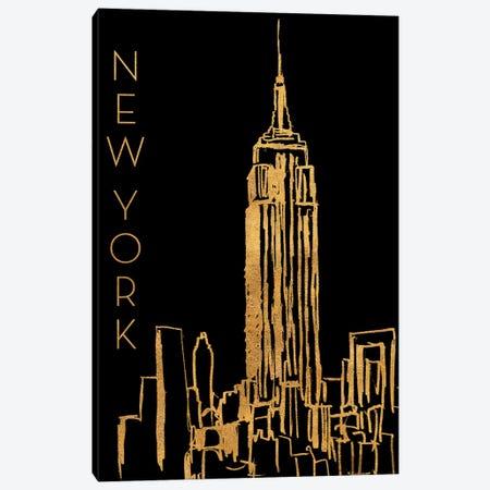 New York On Black Canvas Print #NBI32} by Nicholas Biscardi Canvas Art Print