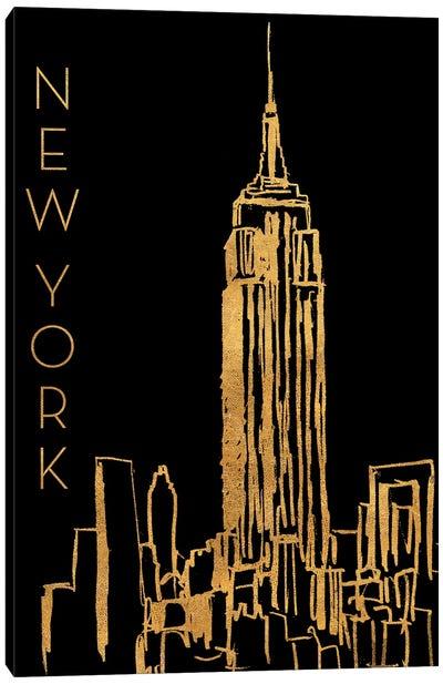 New York On Black Canvas Art Print