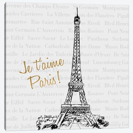 Travel Pack Je T'Aime Paris Canvas Print #NBI48} by Nicholas Biscardi Canvas Artwork