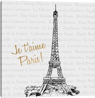 Travel Pack Je T'Aime Paris Canvas Art Print