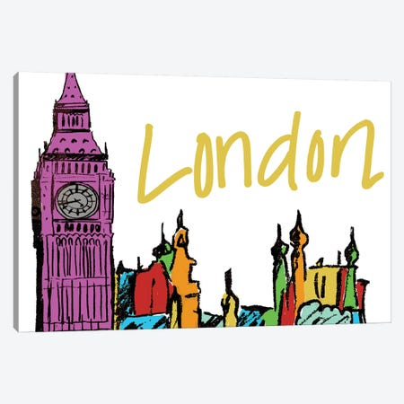 Vibrant London Canvas Print #NBI49} by Nicholas Biscardi Canvas Artwork