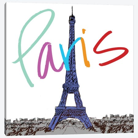 Vibrant Paris Canvas Print #NBI50} by Nicholas Biscardi Canvas Print