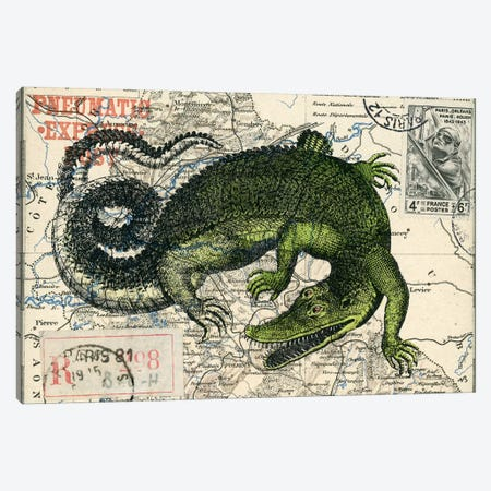 Croc Map Canvas Print #NBK14} by Nick Bantock Canvas Artwork