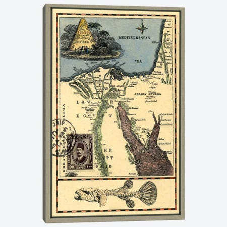 Egypt Map Canvas Print #NBK16} by Nick Bantock Canvas Art