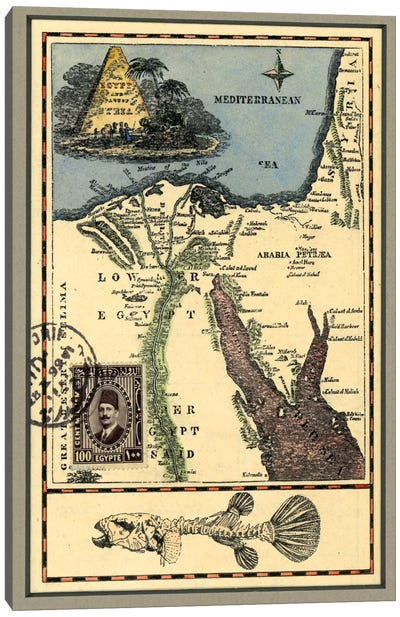 Egypt Map Canvas Art Print