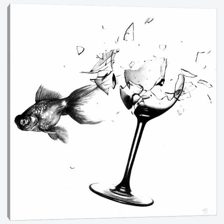 Fish & Wine Glass Canvas Print #NBK19} by Nick Bantock Art Print