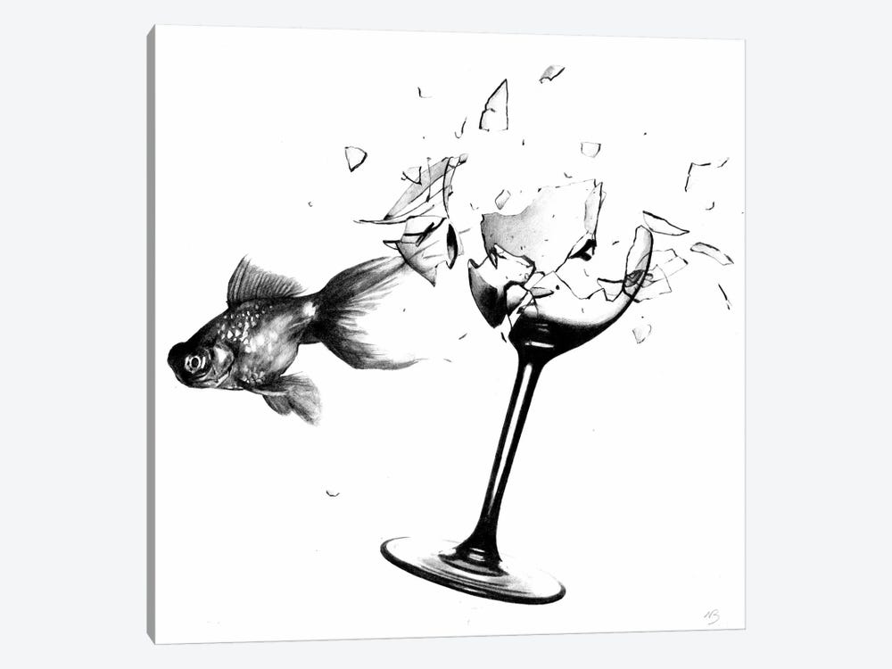 Fish & Wine Glass by Nick Bantock 1-piece Canvas Artwork
