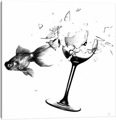 Fish & Wine Glass Canvas Art Print