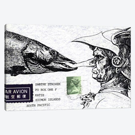 Fish Nose Canvas Print #NBK20} by Nick Bantock Canvas Artwork