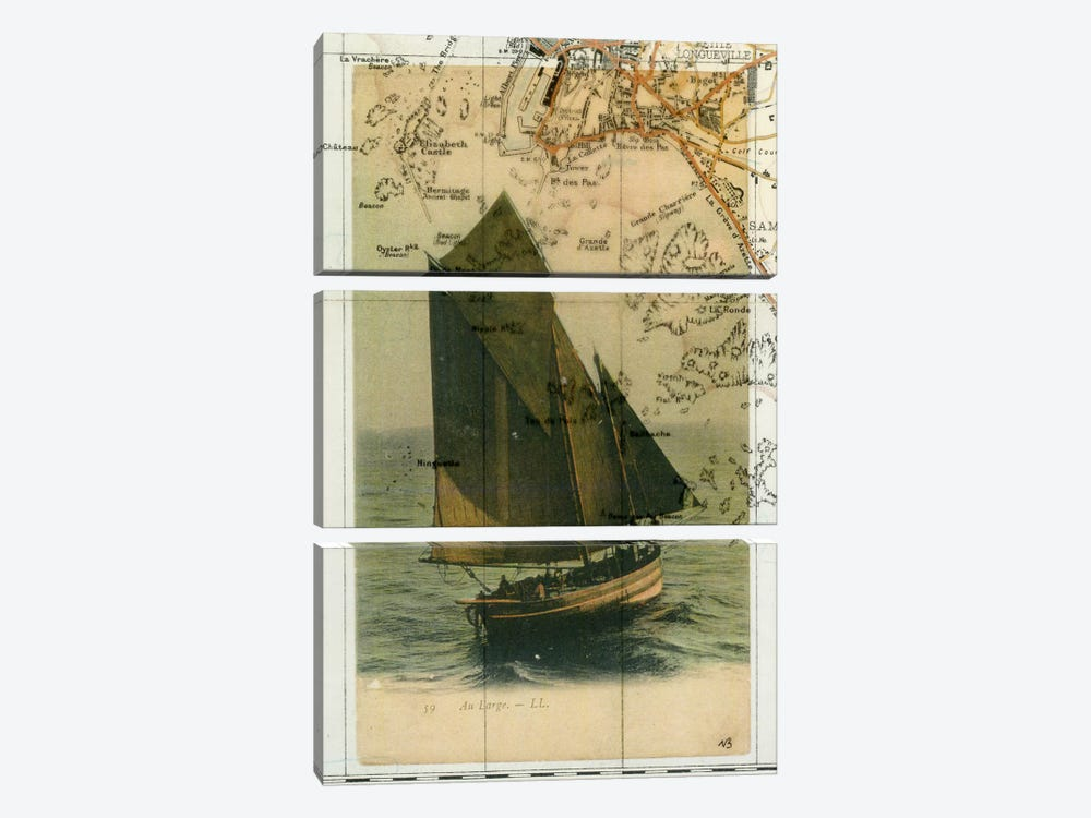 Jersey Sailboat by Nick Bantock 3-piece Canvas Art