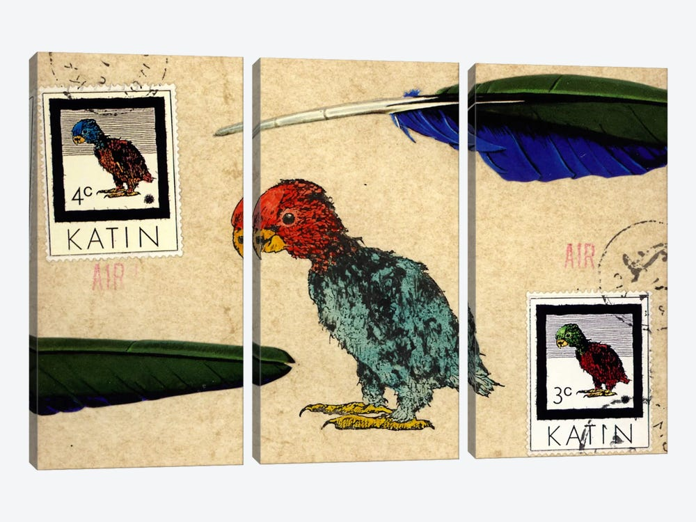 Katin Parrot by Nick Bantock 3-piece Canvas Artwork